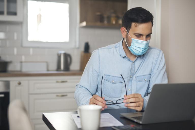 Man wearing mask due to virus pandemic.