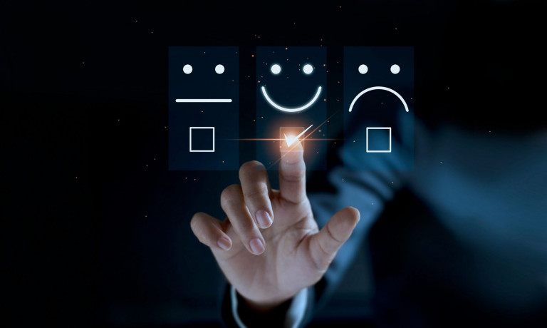 Finger of businessman touching and check mark icon face emoticon smile on dark background, service mind, service rating. Satisfaction and customer service concept